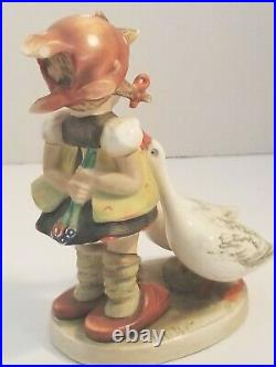 Antique Girl With 2 Geese Goebel Hummel Rare TMK-1 1935-1949