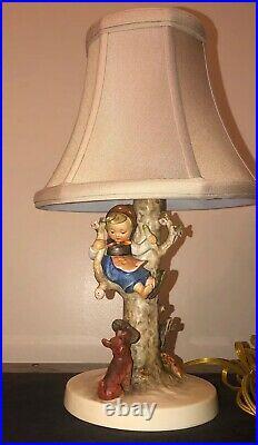 German Hummel Girl #44B Out Of Danger Lamp With Original Shade Circa 1936