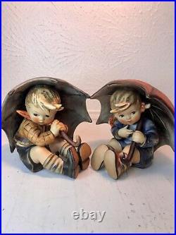 Goebel Hummel LARGE Umbrella Boy & Girl SIGNED 152/0 A/B 1957 Figurine