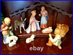 Goebel Hummel Nativity Set With Wooden Stable 9 Piece Tallest Figure Is 8 Inches