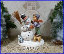 Goebel Hummel Snowman and Boy Making Friends 6.5 Large MINT TMK 7