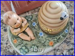 Hummel Baby Angel Bee #1364 Hummele Beehive Trinket Box & Scape 3 Pieces