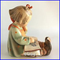 Hummel Book Worm Little Girl Reading Large 9 Tall Rare Antique Vintage Germany