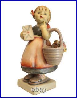 Hummel Figurine Meditation, TMK 1, 7 Girl with letter and basket of flowers