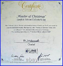 Hummel Figurine WONDER OF CHRISTMAS HUM 2015 WithSTEIFF BEAR SET Goebel MIB A228