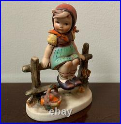 Hummel Goebel JUST RESTING Figurine # 112/1 1938 Girl with Scarf Sitting on Fence