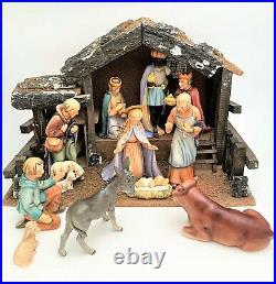 Hummel Goebel Nativity #214 Set of 11 Figurines with Creche/Stable, Tmk 5