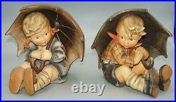 Large Hummel Figurines Umbrella Girl 152/b Tmk2 & Boy 152/a Tmk3 8 Tall
