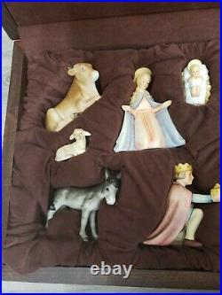 RARE IN WOODEN BOX Goebel Hummel Nativity Set