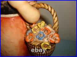 VTG HUGE GOEBEL HUMMEL MEDITATION PORCELAIN FIGURE GIRL With Basket Flowers 14