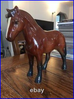 Vintage Brown Goebel Hummel Ceramic Bay Cob Horse Statue FREE SHIPPING