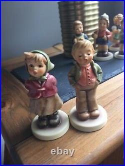 Vintage Hummel Goebel Figurines Lot Of 15 In Our Family In Curio Cabinet