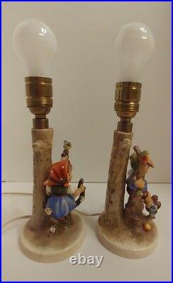 Vintage Pair of Hummel Goebel Apple Tree Boy & Girl Figurine Lamps 229 & 230