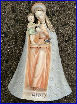 Vtg MJ Hummel Goebel W German Virgin Mary Flower Madonna Baby Jesus Ceramic 10/1